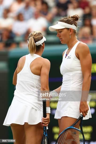 Nicole Melichar of The United States and Kveta Peschke of Czech Republic discuss tactics during the Ladies' Doubles final against Barbora Krejcikova...