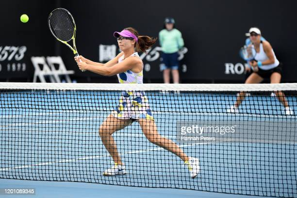 Nicole Melichar of the United States and Yifan Xu of China play in their Women's Doubles first round match against Jennifer Brady and Caroline...