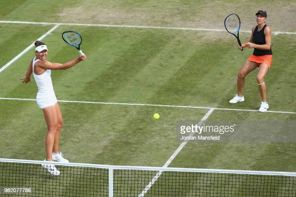 Nicole Melichar of the USA and Kveta Peschke of the Czech Republic in action during their doubles semifinal match against Elise Mertens of Belgium...