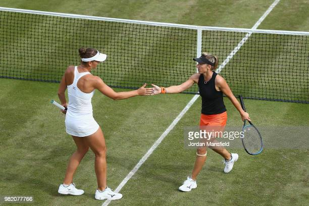 Nicole Melichar of the USA and Kveta Peschke of the Czech Republic during their doubles semifinal match against Elise Mertens of Belgium and Demi...