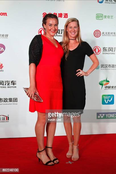 Nicole Melichar of United States and Anna Smith of Great Britain pose for a picture at a party of 2017 DONGFENG MOTOR WUHAN OPEN on September 23 2017...
