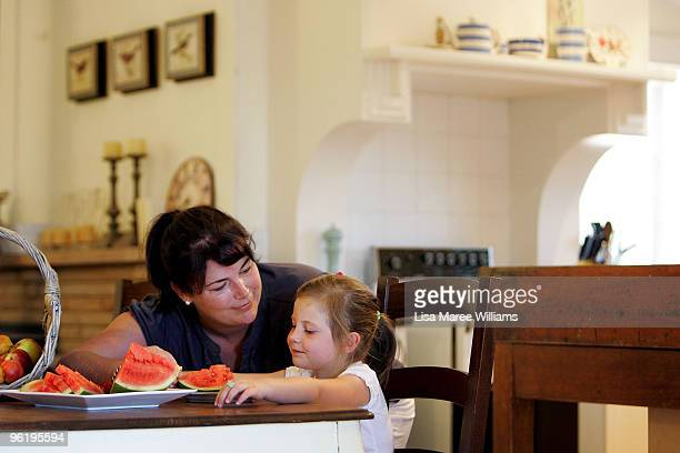 Nicole Mercer with her daughter Scarlett at their country home called 'Barina' which is part of the Rentafarmhouse scheme where families can rent a...