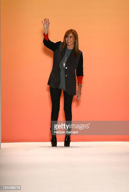 Nicole Miller walks at the Nicole Miller Spring 2012 fashion show during Mercedes Benz Fashion Week at Lincoln Center on September 9 2011 in New York...