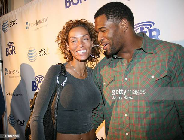 Nicole Mitchell and Michael Strahan attends 1 Year Anniversary of The Boy Genius Report Inside on October 23 2007 in New York City NY