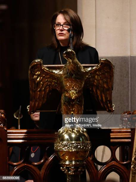 Nicole Morrison daughter of Lou Richards addresses the crowd during the former Collingwood legend Lou Richards state funeral at St Paul's Cathedral...