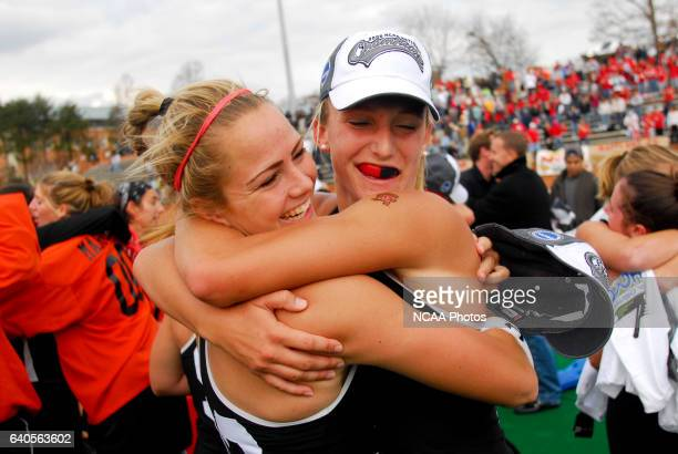 Nicole Muracco left and Alexis Pappas of the University of Maryland celebrate after the Division I Women's Field Hockey Championship held at Kentner...