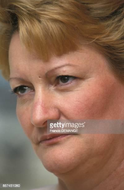 Nicole Notat Secretaire generale a la fete de la CFDT le 1er mai 1993 a Nancy France
