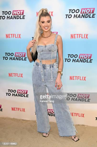 """Nicole O'Brien attends the """"Too Hot To Handle"""" Season 2 Special Screening photocall at Fulham Beach Bar on June 23, 2021 in London, England."""