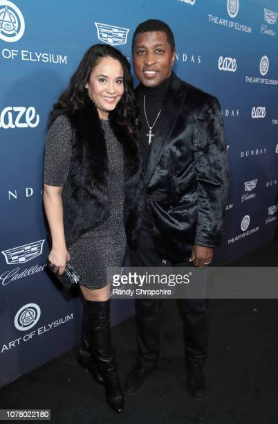 Nicole Pantenburg and Babyface attend Michael Muller's HEAVEN presented by The Art of Elysium on January 5 2019 in Los Angeles California