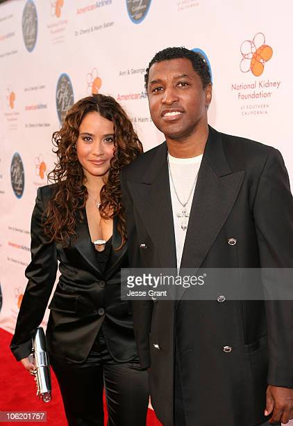 Nicole Pantenburg and Kenny Babyface Edmonds during George Lopez Hosts National Kidney Foundation Gala Red Carpet in Los Angeles California United...