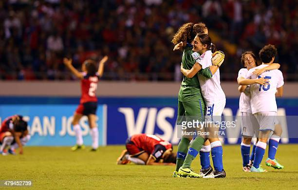 Nicole Peressotti celebrate with Francesca Durante goalkeeper of Italy after the FIFA U17 Women's World Cup 2014 group A match between Costa Rica and...