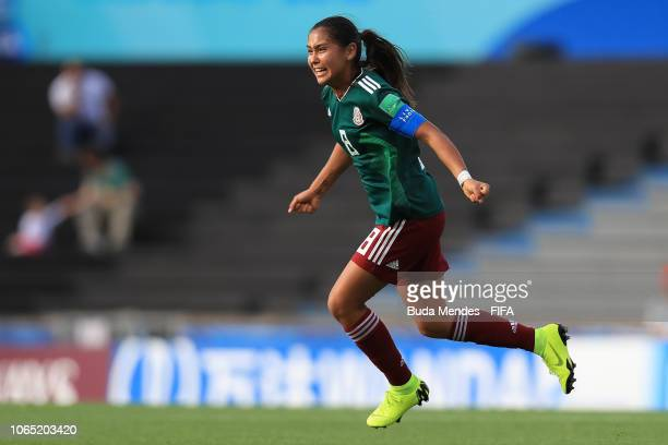 Nicole Perez of Mexico celebrates a scored goal during the FIFA U-17 Women's World Cup Uruguay 2018 quarter final match between Ghana and Mexico at...