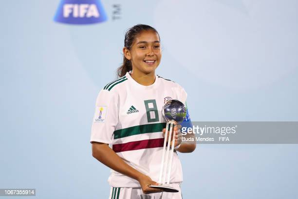 Nicole Perez of Mexico poses with adidas Silver Ball Award after the FIFA U17 Women's World Cup Uruguay 2018 final match between Spain and Mexico at...