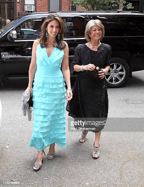 Nicole Petallides and Fannie Holiday attend the wedding of Andrea Catsimatidis and Christopher Nixon Cox at the Greek Orthodox Cathedral Of The Holy...