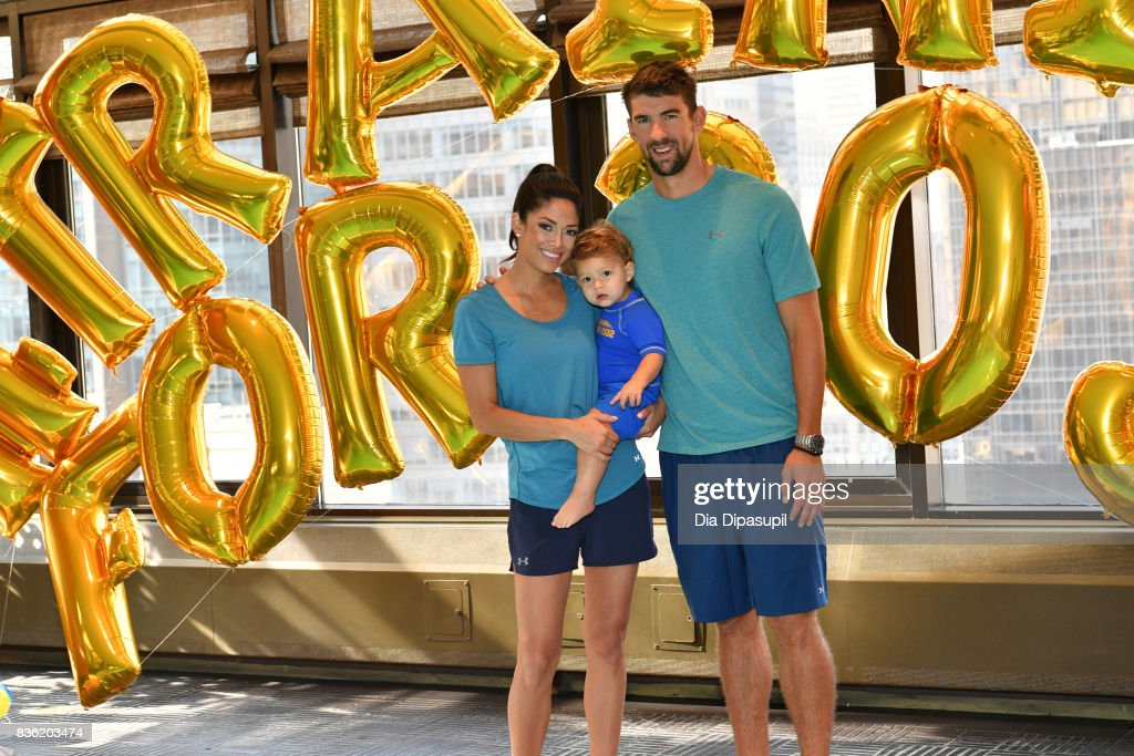 Nicole Phelps, Boomer Phelps and Michael Phelps attend the Huggies Little Swimmers #trainingfor2032 Swim Class With The Phelps Foundation on August 21, 2017 in New York City.