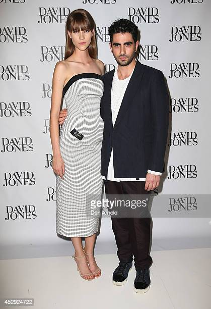 Nicole Pollard and Christopher Esber arrive at the David Jones Spring/Summer 2014 Collection Launch at David Jones Elizabeth Street Store on July 30...