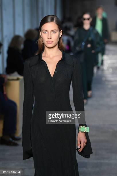 Nicole Poturalski walks the runway at the HugoBoss fashion show during the Milan Women's Fashion Week on September 25, 2020 in Milan, Italy.
