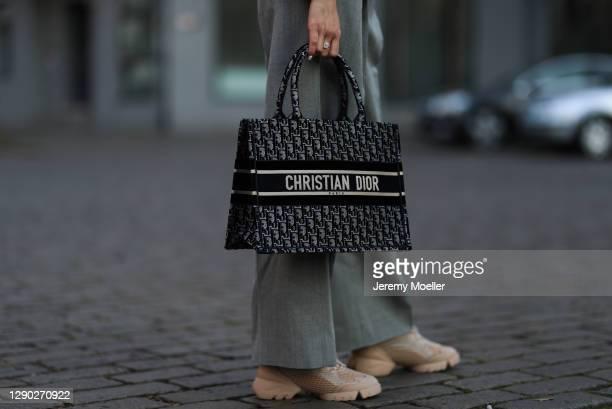 Nicole Poturalski wearing complete Dior look on December 08, 2020 in Berlin, Germany.