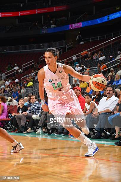 Nicole Powell of the New York Liberty drives against the Washington Mystics on September 12 2012 at the Prudential Center in Newark New Jersey NOTE...