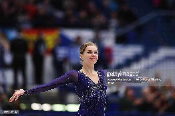 Nicole Rajicova of Czech Republic competes in the Ladies Free Skating during day 3 of the European Figure Skating Championships at Ostravar Arena on...