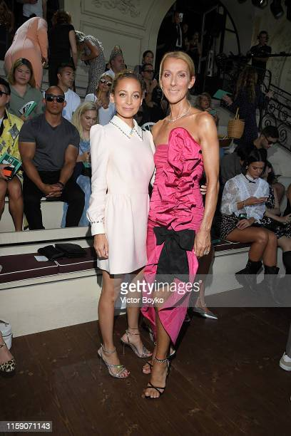 Nicole Richie and Celine Dion attend Miu Miu club event at Hippodrome d'Auteuil on June 29 2019 in Paris France