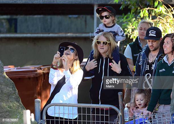Nicole Richie and Joel Madden are seen with their children Sparrow and Harlow at Taronga Zoo on May 16 2012 in Sydney Australia