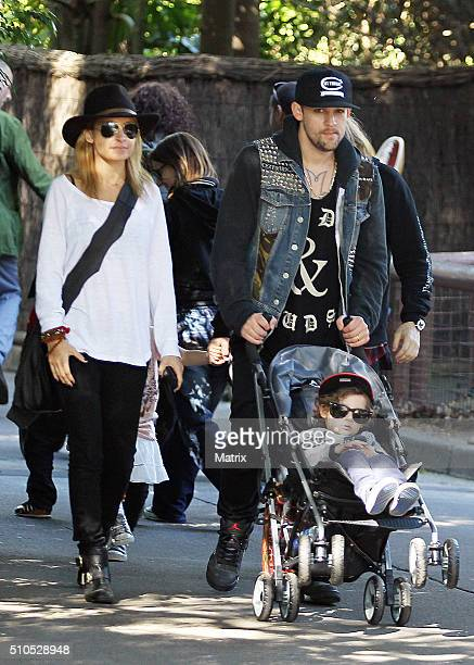 Nicole Richie and Joel Madden are seen with their children Sparrow and Harlow at Taronga Zoo on May 16, 2012 in Sydney, Australia.