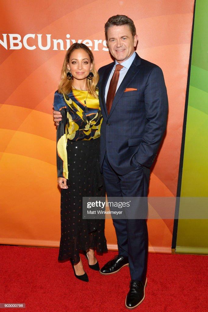 Nicole Richie and John Michael Higgins attend the 2018 NBCUniversal Winter Press Tour at The Langham Huntington, Pasadena on January 9, 2018 in Pasadena, California.