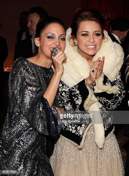 APPLY* Nicole Richie and singer/actress Miley Cyrus attend the 18th Annual Elton John AIDS Foundation Academy Award Party at Pacific Design Center on...