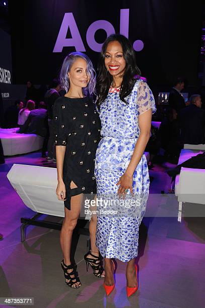 Nicole Richie and Zoe Saldana at the 2014 AOL NewFronts at Duggal Greenhouse on April 29, 2014 in New York, New York.
