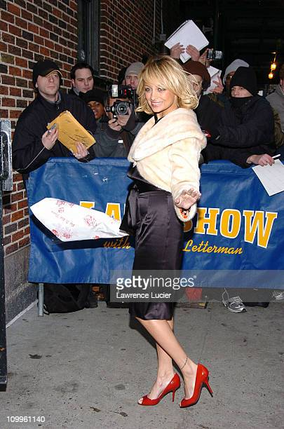 Nicole Richie during Nicole Richie and Robert Downey Jr Arrive at The Late Show with David Letterman January 20 2005 at Ed Sullivan Theater in New...
