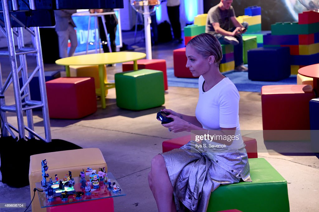 Nicole Richie plays LEGO Dimensions at the video game's launch party on September 24, 2015 in New York City.