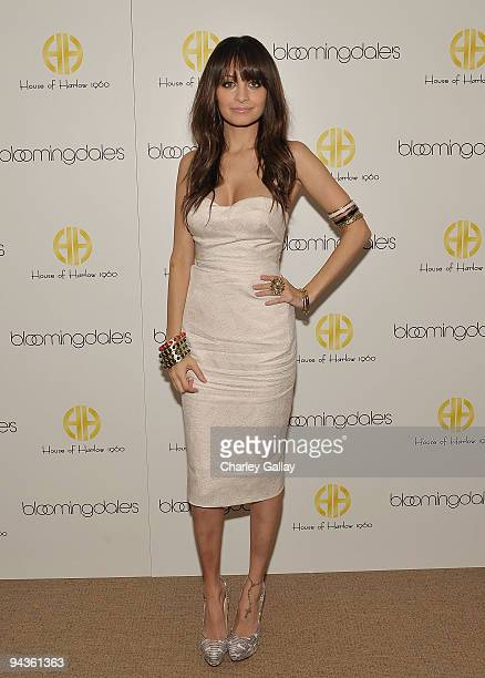 Nicole Richie poses as she launches the House of Harlow 1960 Holiday Collection at Bloomingdale's South Coast Plaza on December 12 2009 in Costa Mesa...