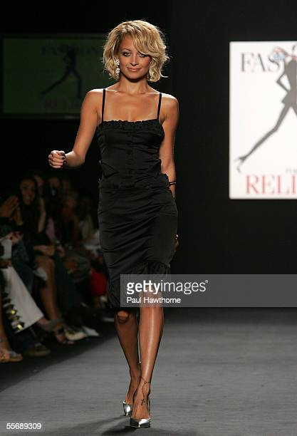 Nicole Richie walks the runway at the 'Fashion for Relief' fashion show with proceeds going to aid Hurricane Katrina victims during Olympus Fashion...