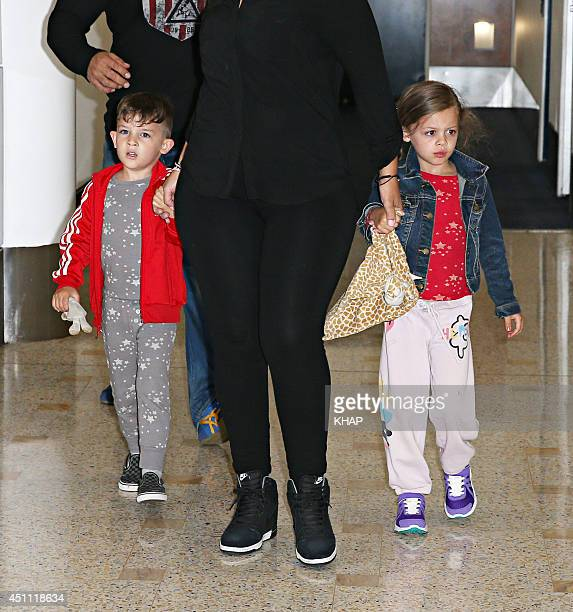 Nicole Richie's children Sparrow Madden and Harlow Madden are seen upon arrival at Sydney International Airport on June 24 2014 in Sydney Australia