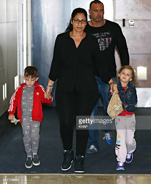 Nicole Richie's children Sparrow Madden and Harlow Madden are seen upon arrival at Sydney International Airport on June 24, 2014 in Sydney, Australia.