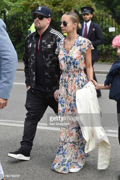 Nicole Ritchie and Joel Madden attends day 7 of the Wimbledon 2019 Tennis Championships at All England Lawn Tennis and Croquet Club on July 08, 2019...