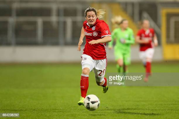 Nicole Rolser of Bayern Muenchen controls the ball during the Women's DFB Cup Quarter Final match between FC Bayern Muenchen and VfL Wolfsburg at the...