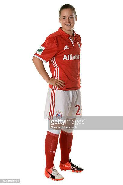 Nicole Rolser of FC Bayern Muenchen poses during the Allianz Women's Bundesliga Club Tour on September 4 2016 in Aschheim Germany
