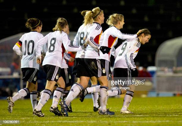 Nicole Rolser of Germany celebrates with team mates after scoring a goal during the U19 Women International Friendly match between Sweden and Germany...