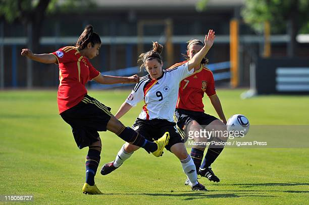 Nicole Rolser of Germany competes with Leila Ouahabi of Spain during the UEFA European Women's U19 Championship match between Germany and Spain at...