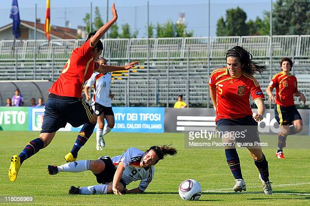 Nicole Rolser of Germany is injured during the UEFA European Women's U19 Championship match between Germany and Spain at Nanni Stadium on June 2 2011...