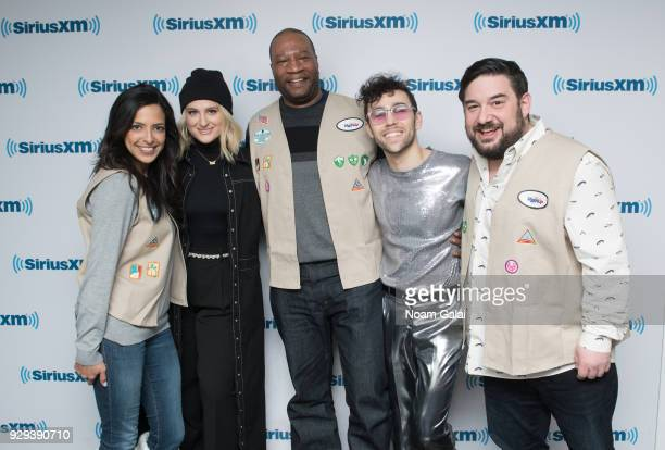 Nicole Ryan Meghan Trainor Stanley T MAX and Ryan Sampson pose for a photo at SiriusXM Studios on March 8 2018 in New York City