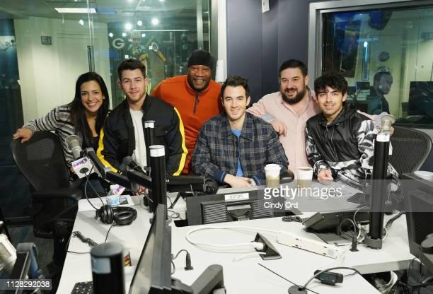 Nicole Ryan Nick Jonas Stanley T Joe Jonas Ryan Sampson and Joe Jonas attend as The Jonas Brothers visit the SiriusXM studios on March 1 2019 in New...