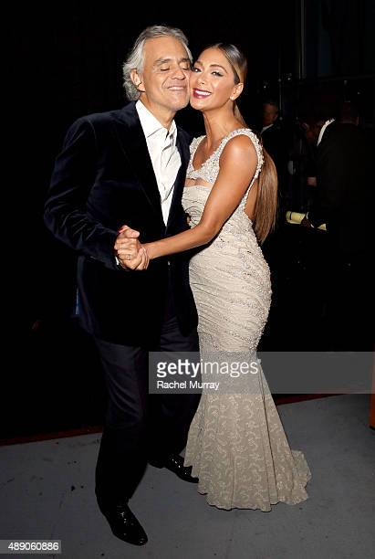 Nicole Scherzinger and Andrea Bocelli poses for a photo backstage before Nicole joins Andrea Bocelli onstage as he gives a onceinalifetime...