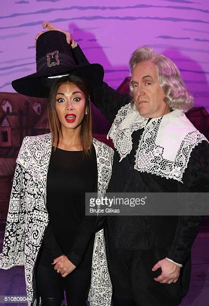 Nicole Scherzinger and David Beach pose backstage at the hit musical Something Rotten on Broadway at The St James Theatre on February 16 2016 in New...