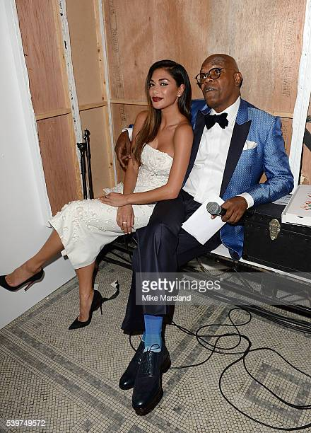 Nicole Scherzinger and Samuel L Jackson attend the One For The Boys Fashion Ball at The VA on June 12 2016 in London England