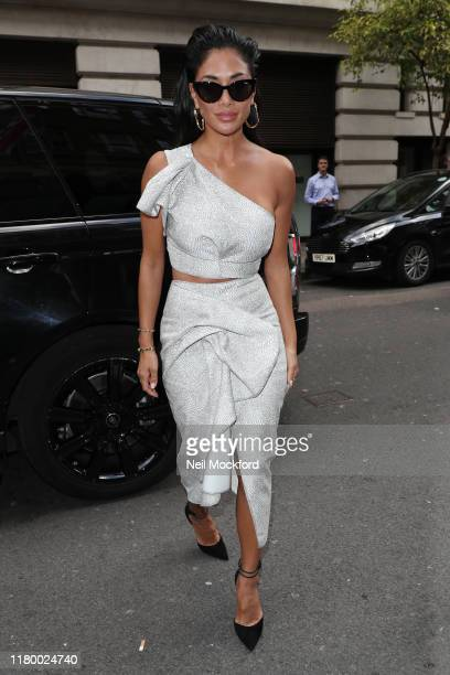 Nicole Scherzinger arrives at the May Fair Hotel for an X Factor 2019 launch photocall on October 09, 2019 in London, England.