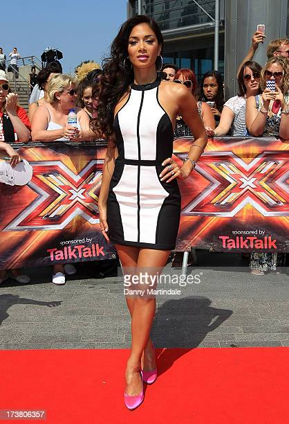 Nicole Scherzinger arrives for the last day of the London auditions of The X Factor at Wembley Arena on July 18 2013 in London England