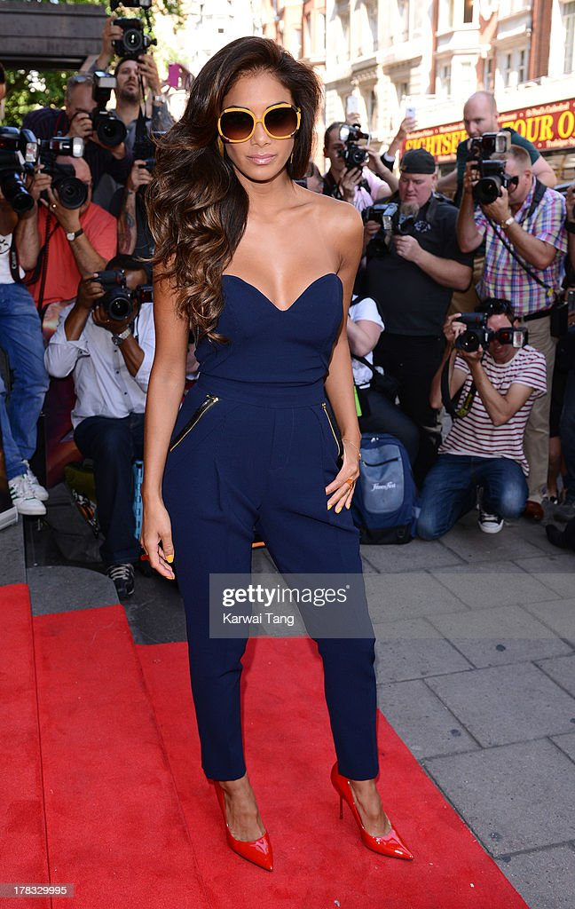 Nicole Scherzinger arrives for the X-Factor Press Launch held at The Mayfair Hotel on August 29, 2013 in London, England.